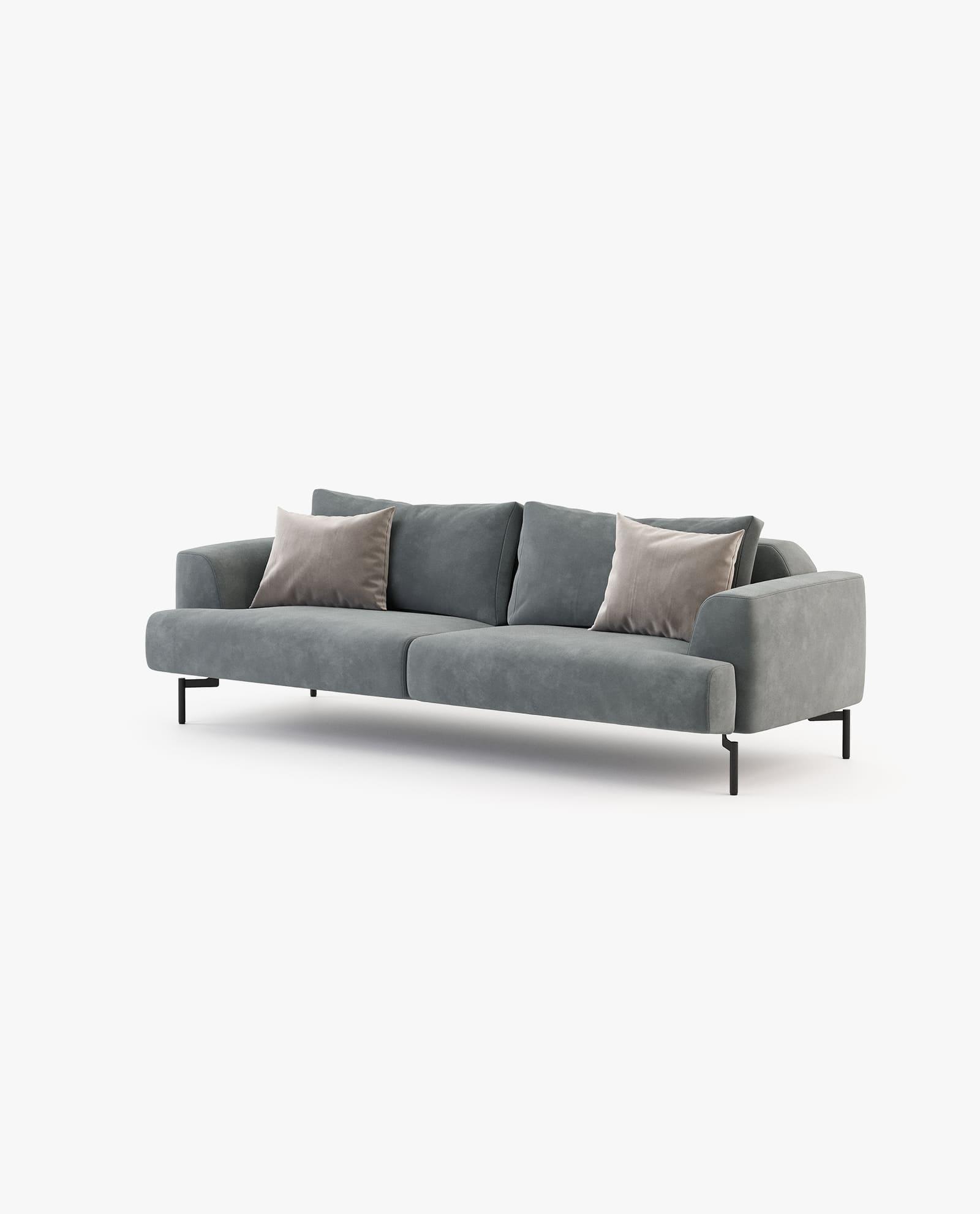 sofá moderno em veludo cinza