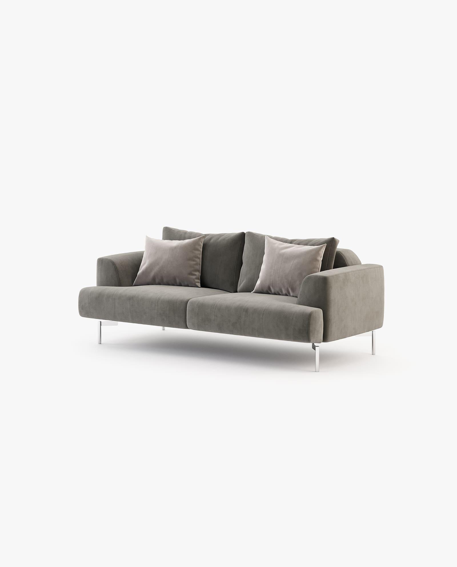 sofá em veludo castanho