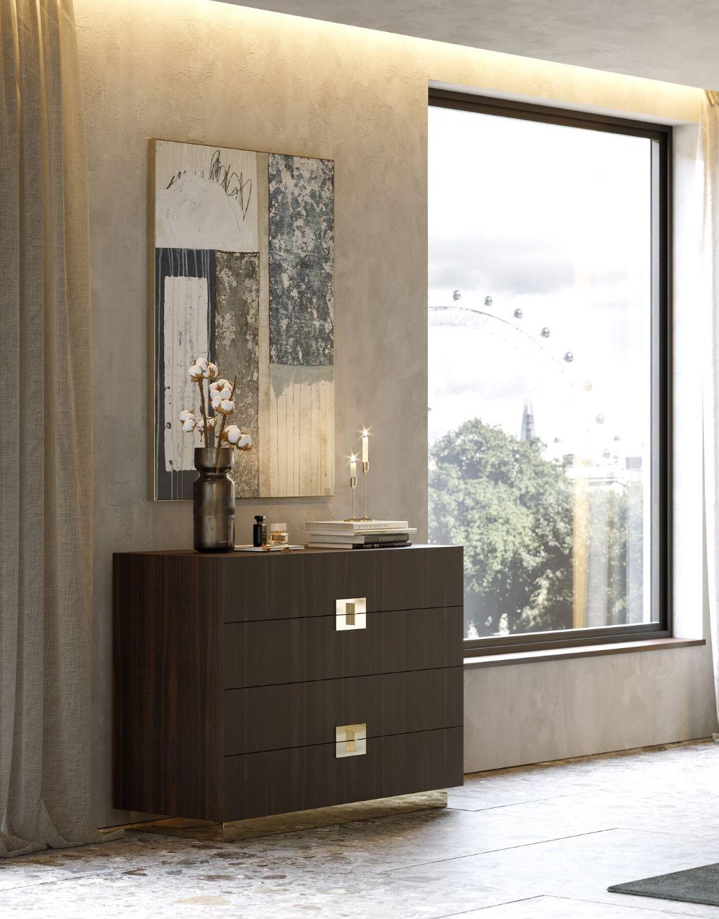 cómoda em madeira com detalhe em inox dourado