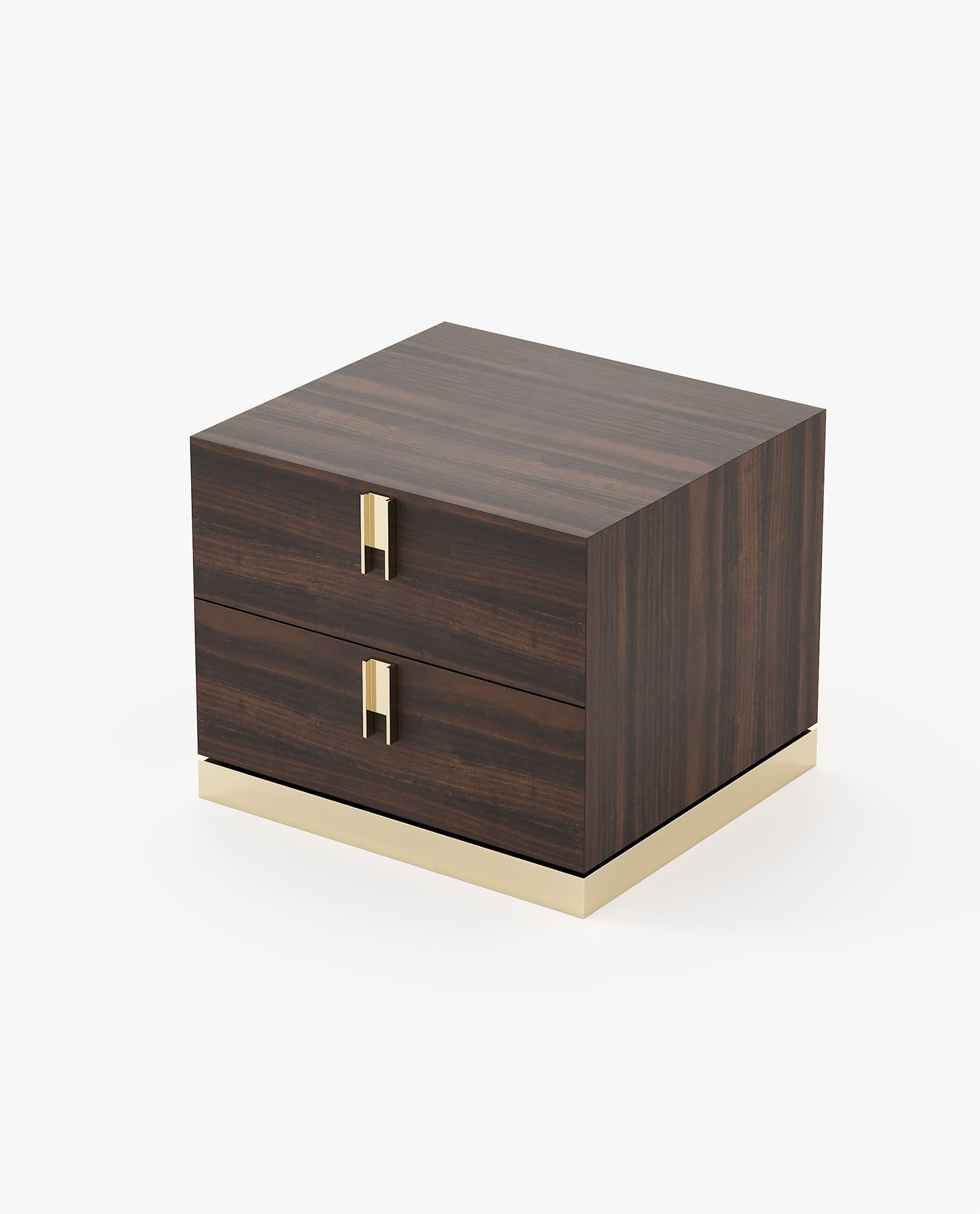 mesa de cabeceira moderna com detalhe em inox dourado