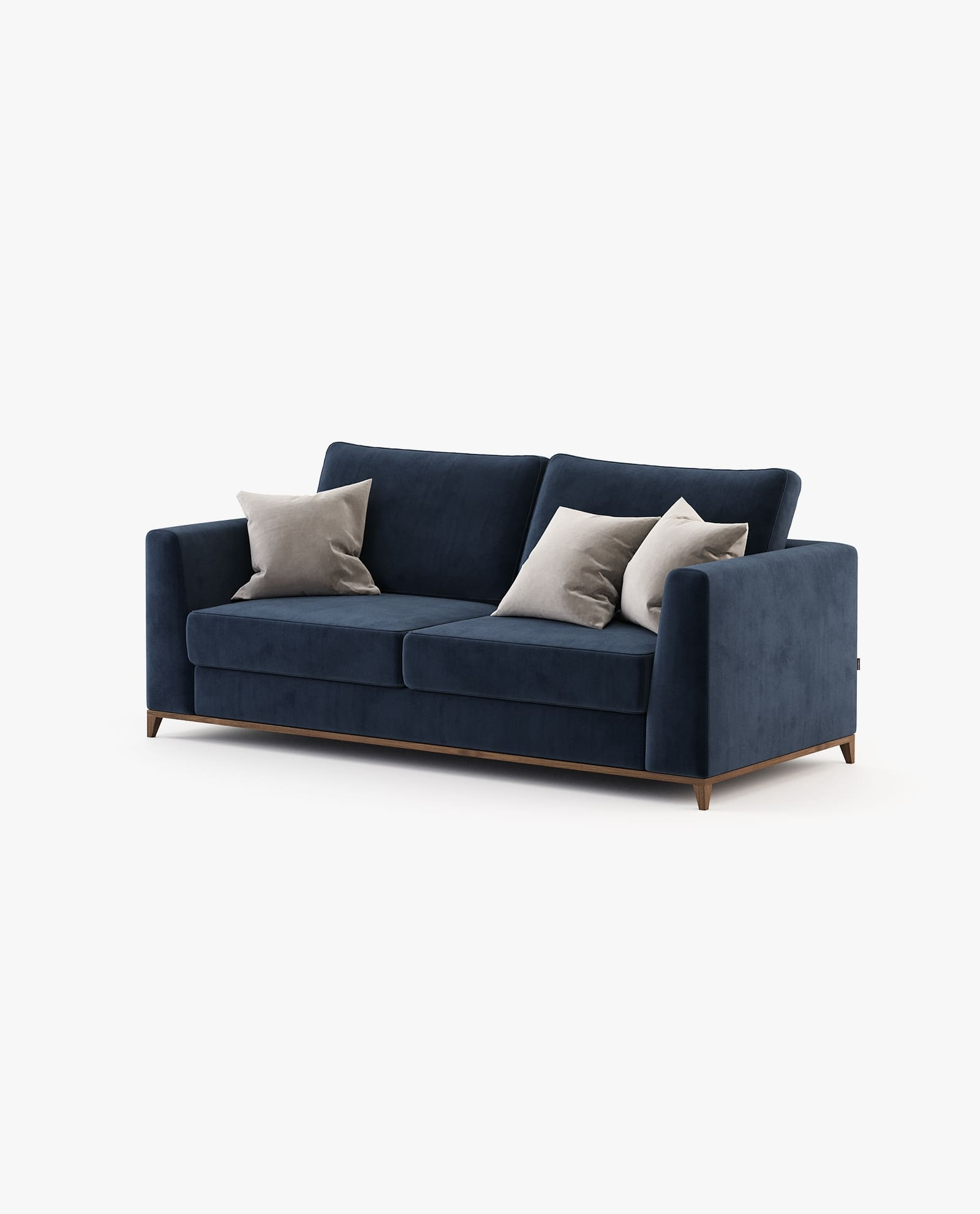 sofá em veludo azul marinho