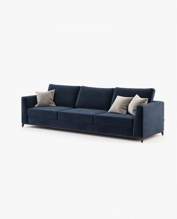 sofá em veludo azul marinho 3 lugares