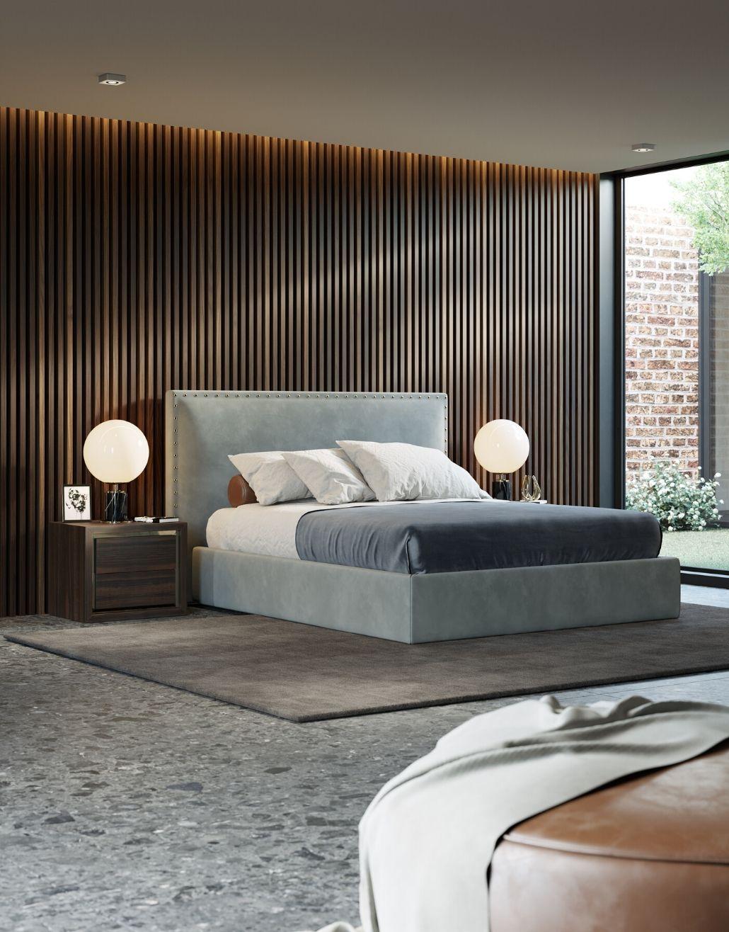 cama em veludo para quarto moderno