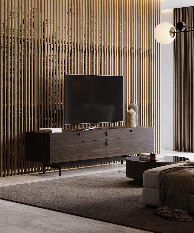 base de tv em madeira