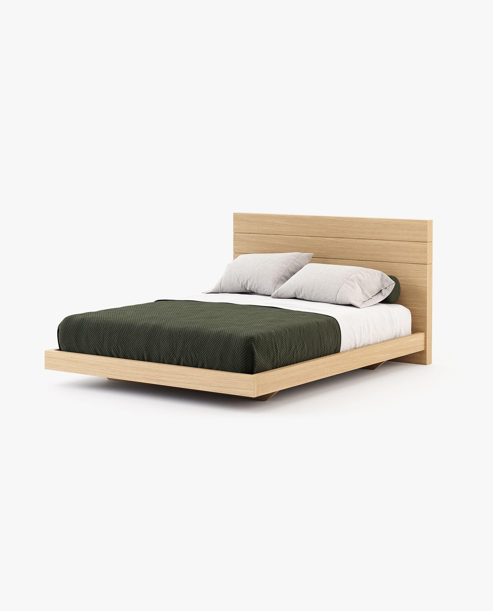 cama em madeira de carvalho natural