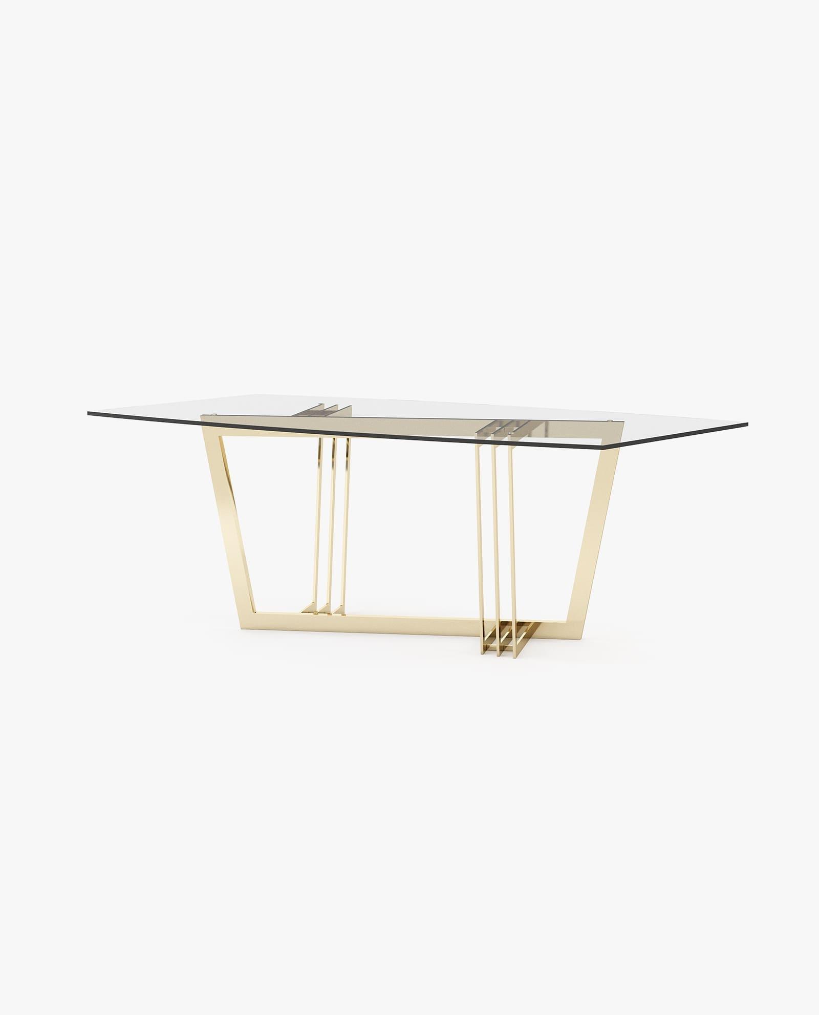 mesa de jantar com inox dourado e vidro