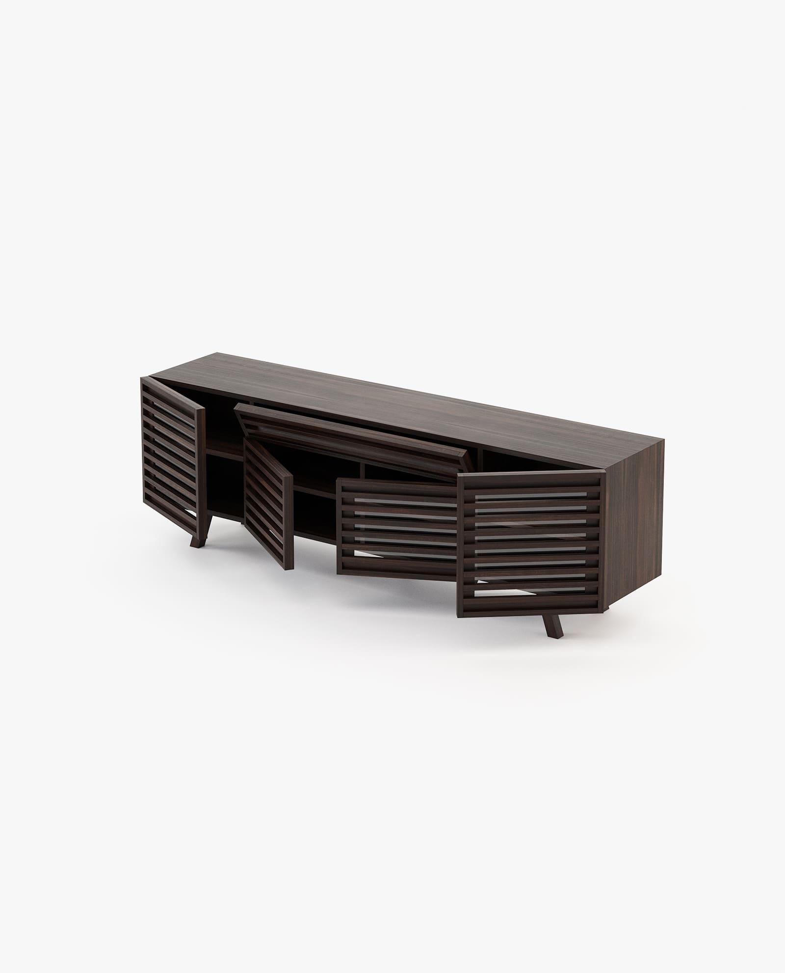 base de tv retro em madeira