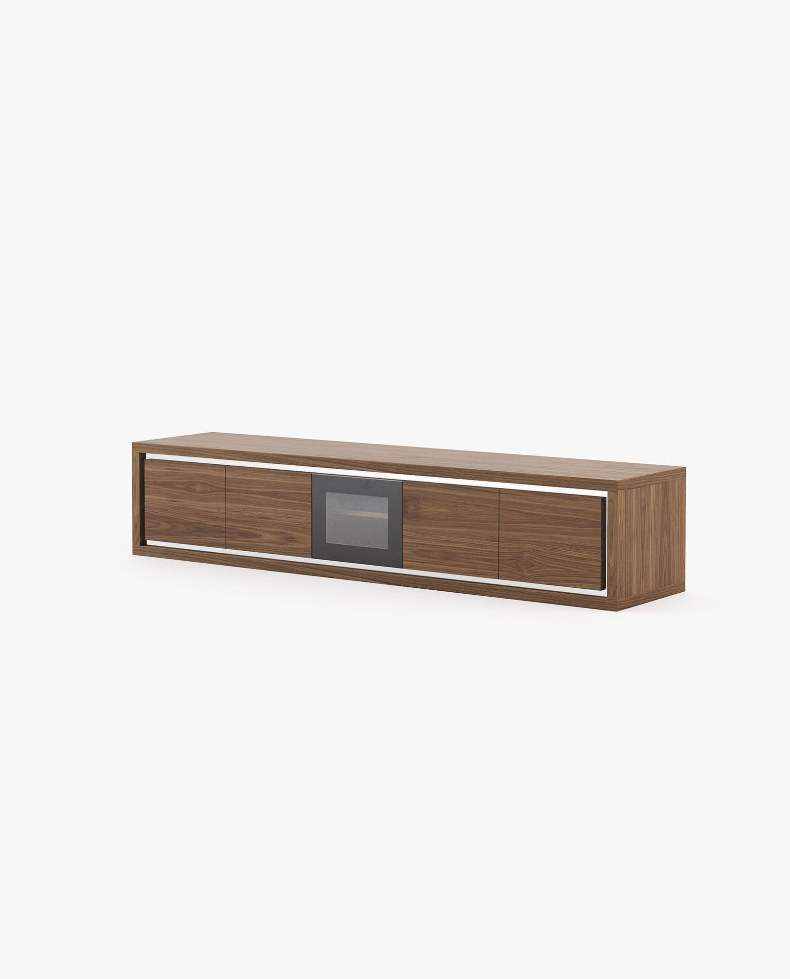 base de tv em madeira de nogueira