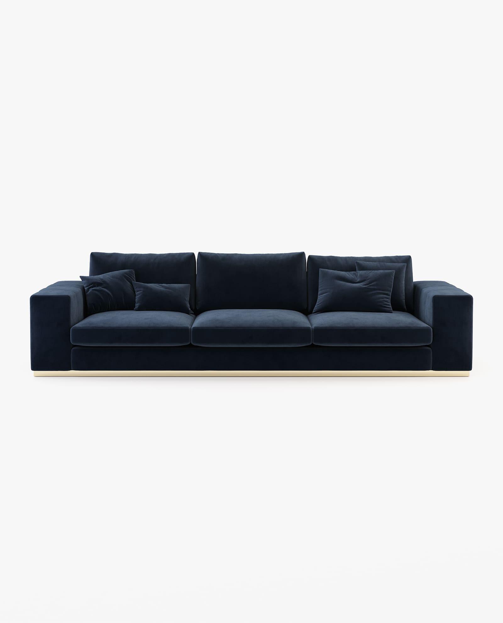 sofá Charlie laskasas em veludo azul marinho