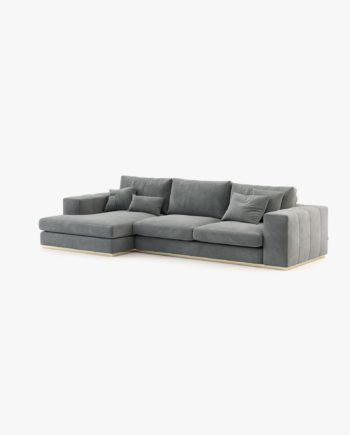 sofá chaise-longue em veludo cinza