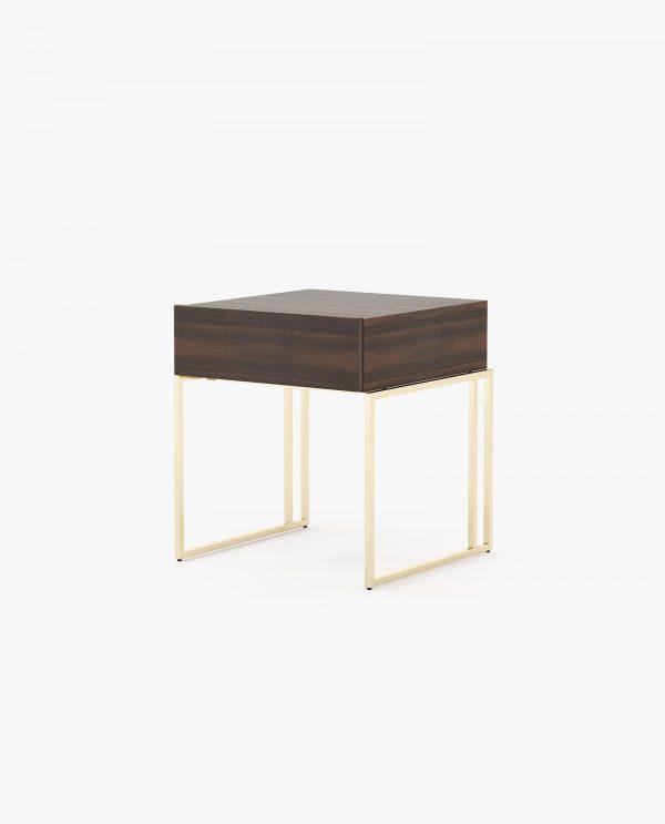 mesa de cabeceira com madeira e inox dourado