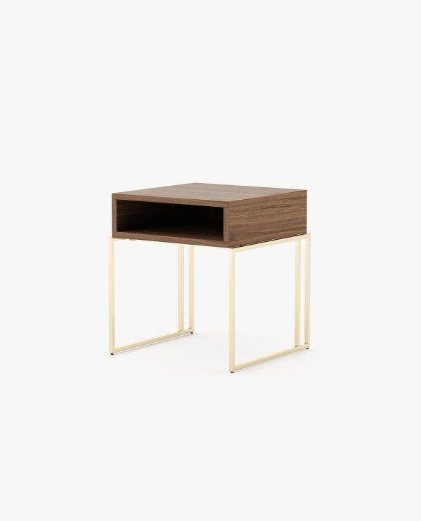 mesa de cabeceira com inox dourado