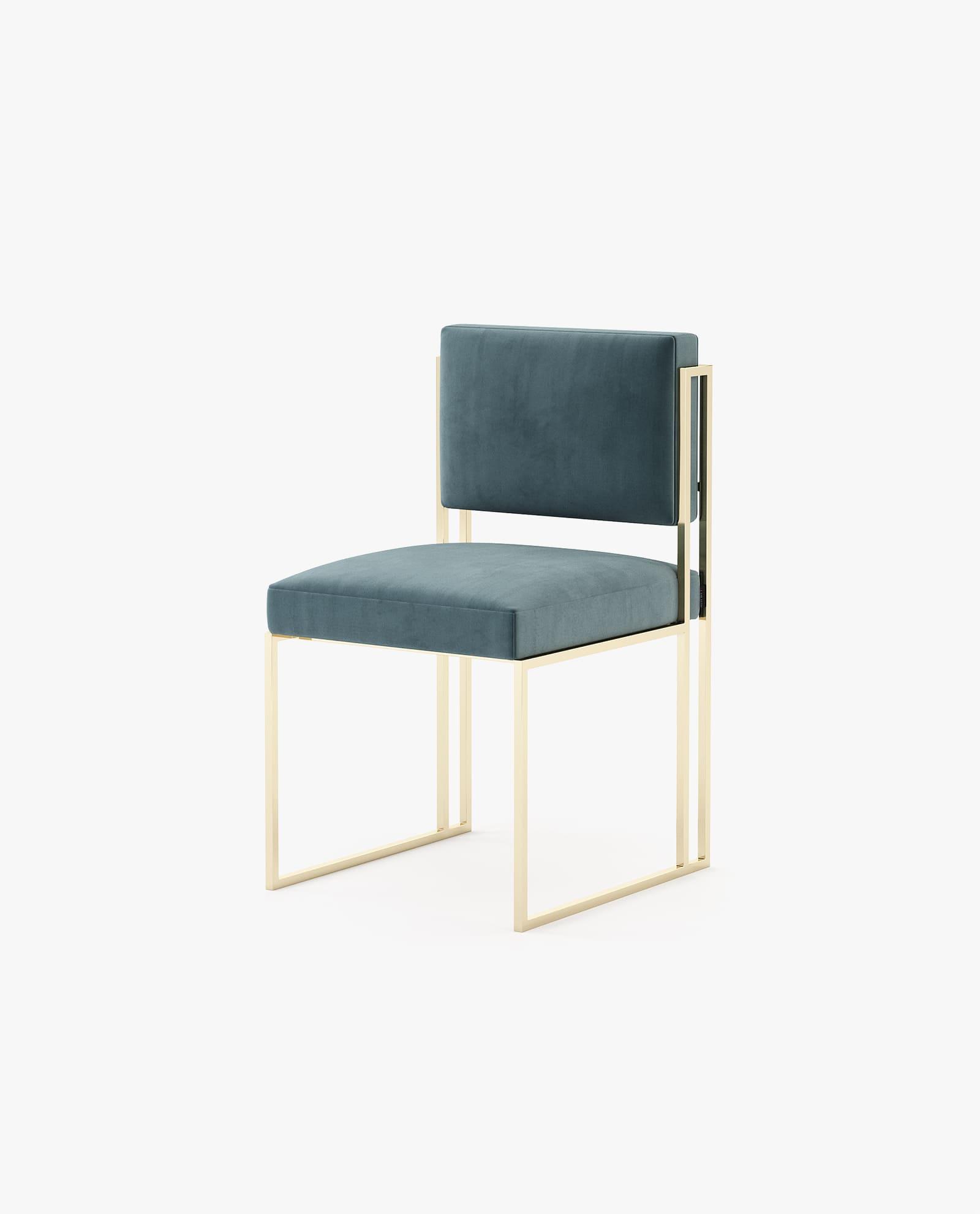 cadeira com estofo e inox dourado