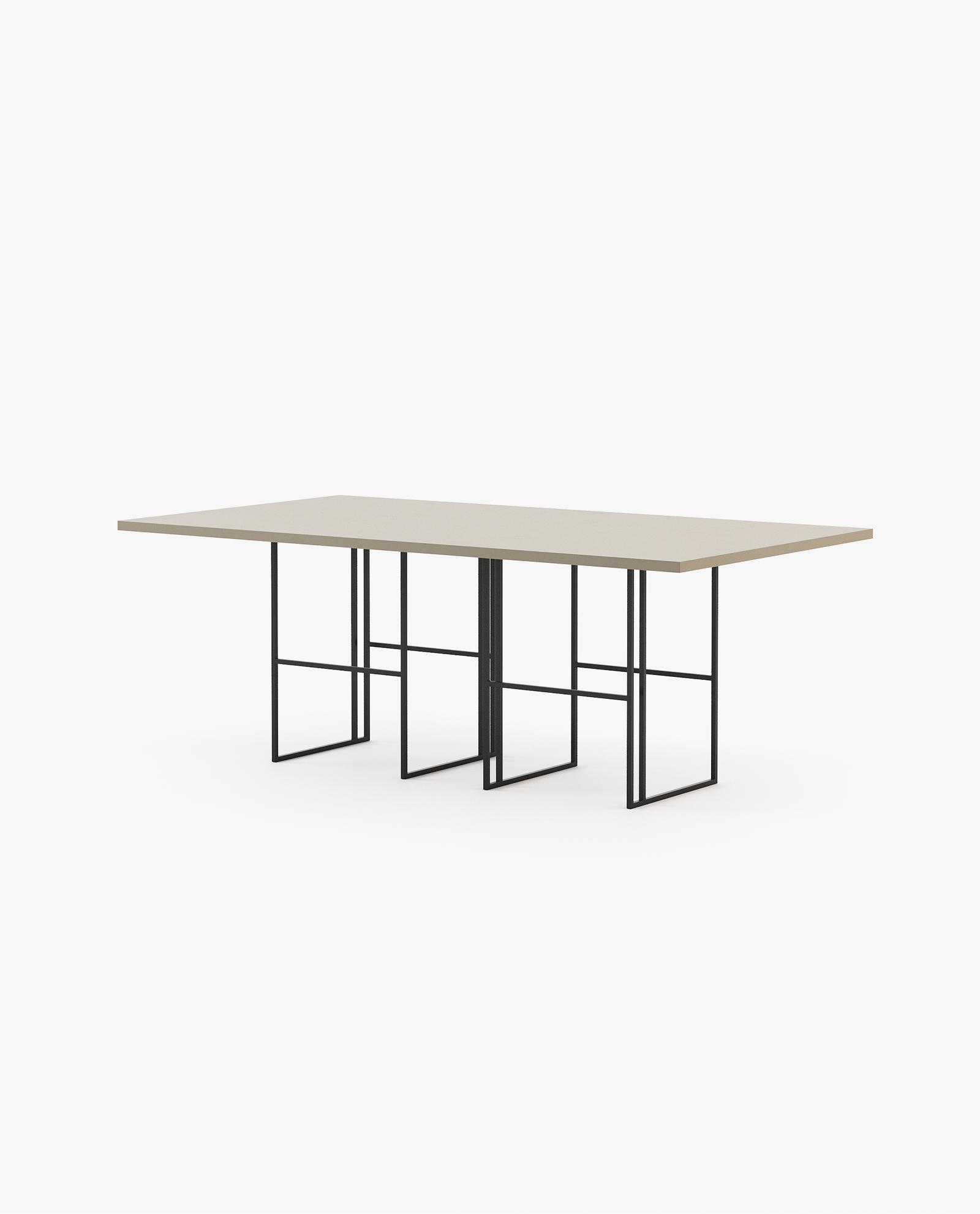 mesa de jantar em madeira e ferro preto