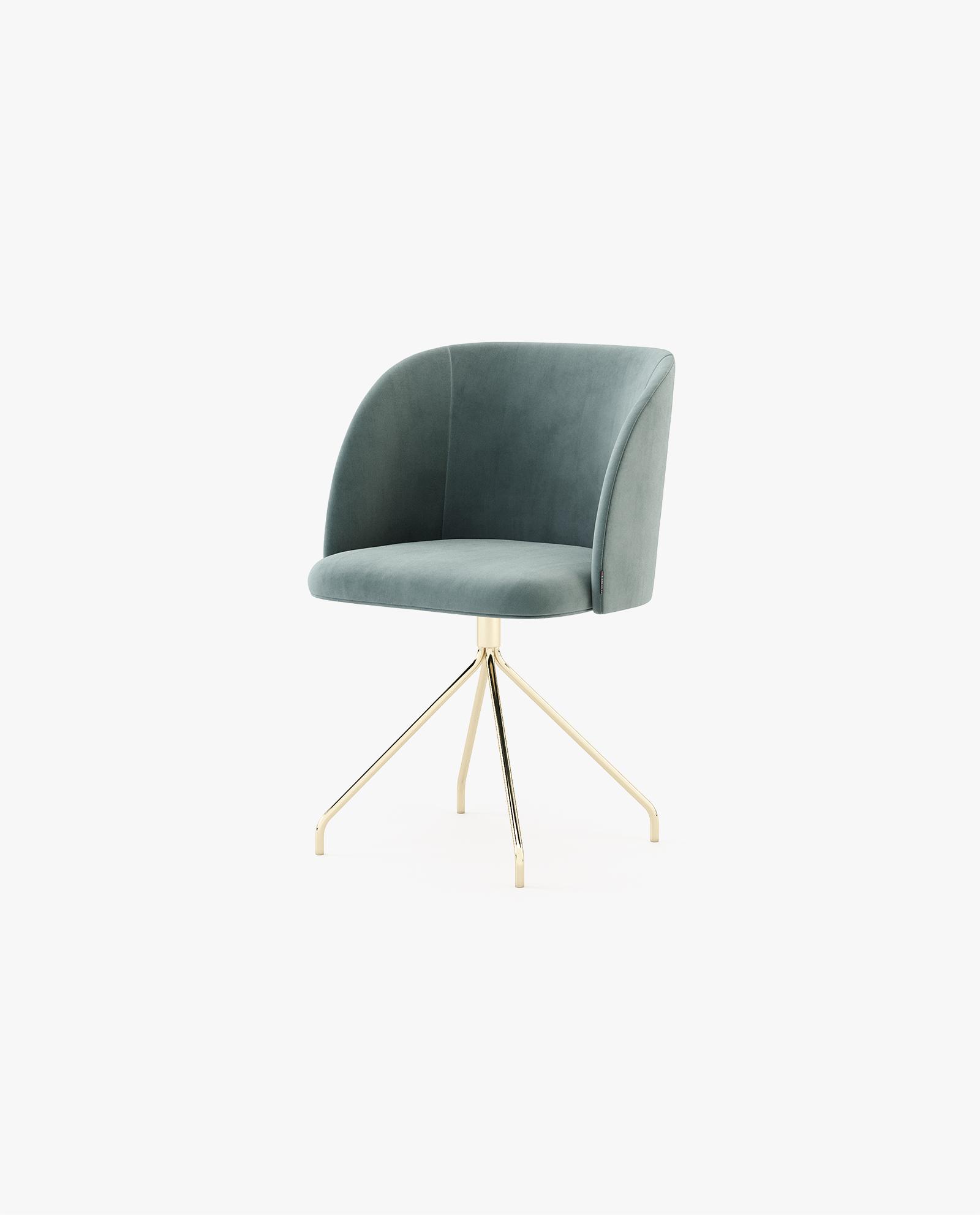 cadeira moderna com inox dourado