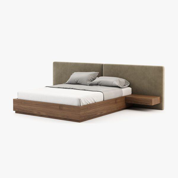 cama em estofo com madeira