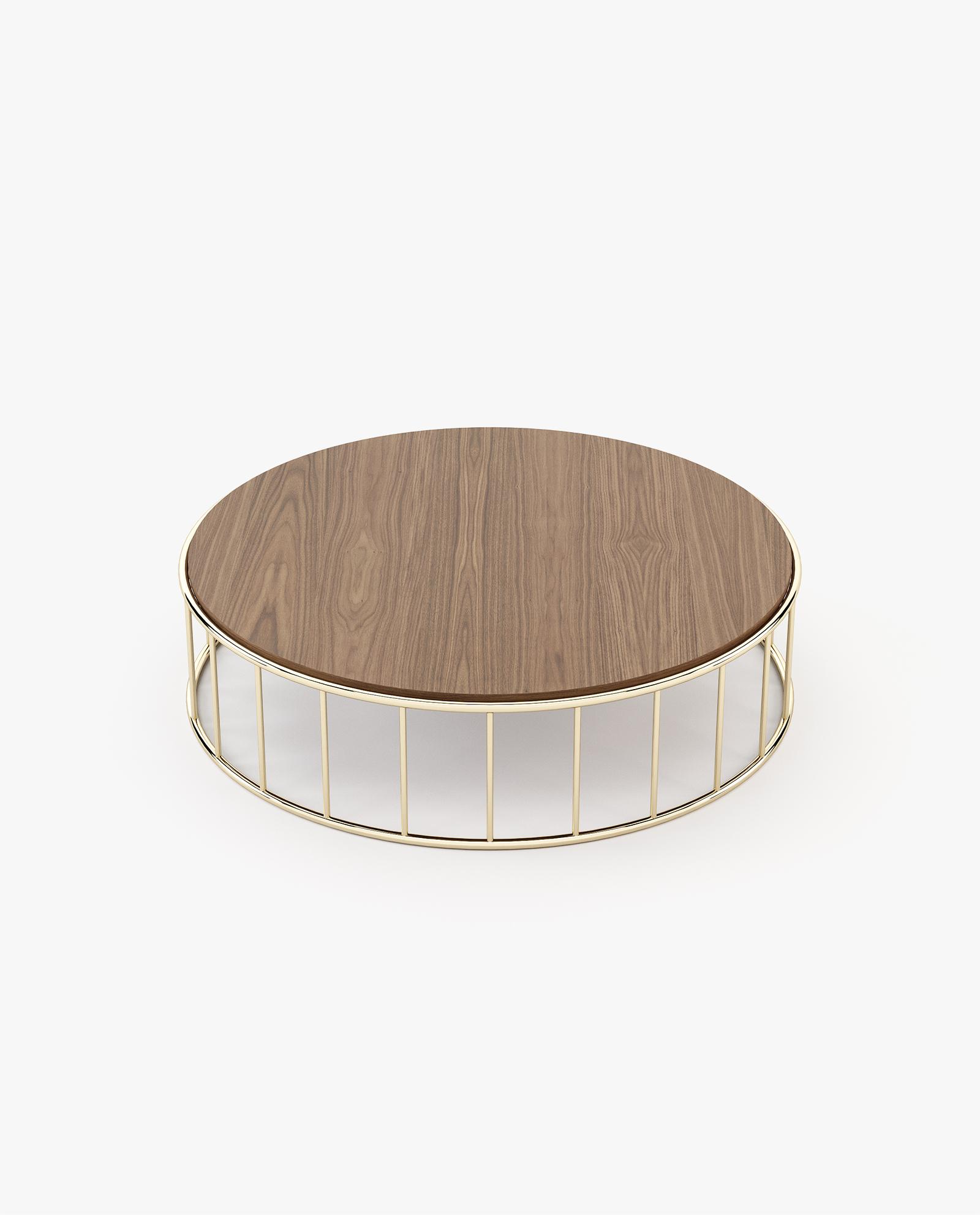 mesa de centro com inox dourado