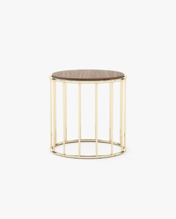 mesa de apoio com inox dourado