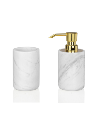 acessórios de banho mármore branca