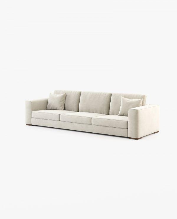sofá moderno em veludo cor creme