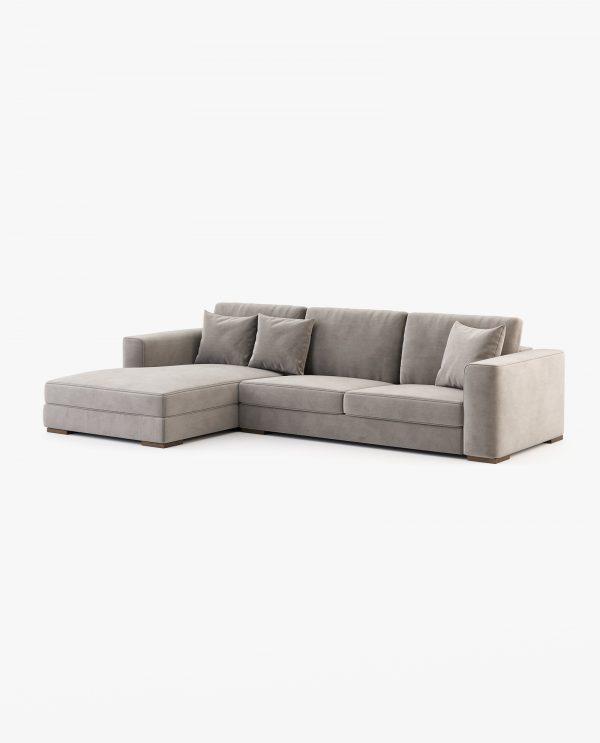 sofá chaise-longue em bege escuro
