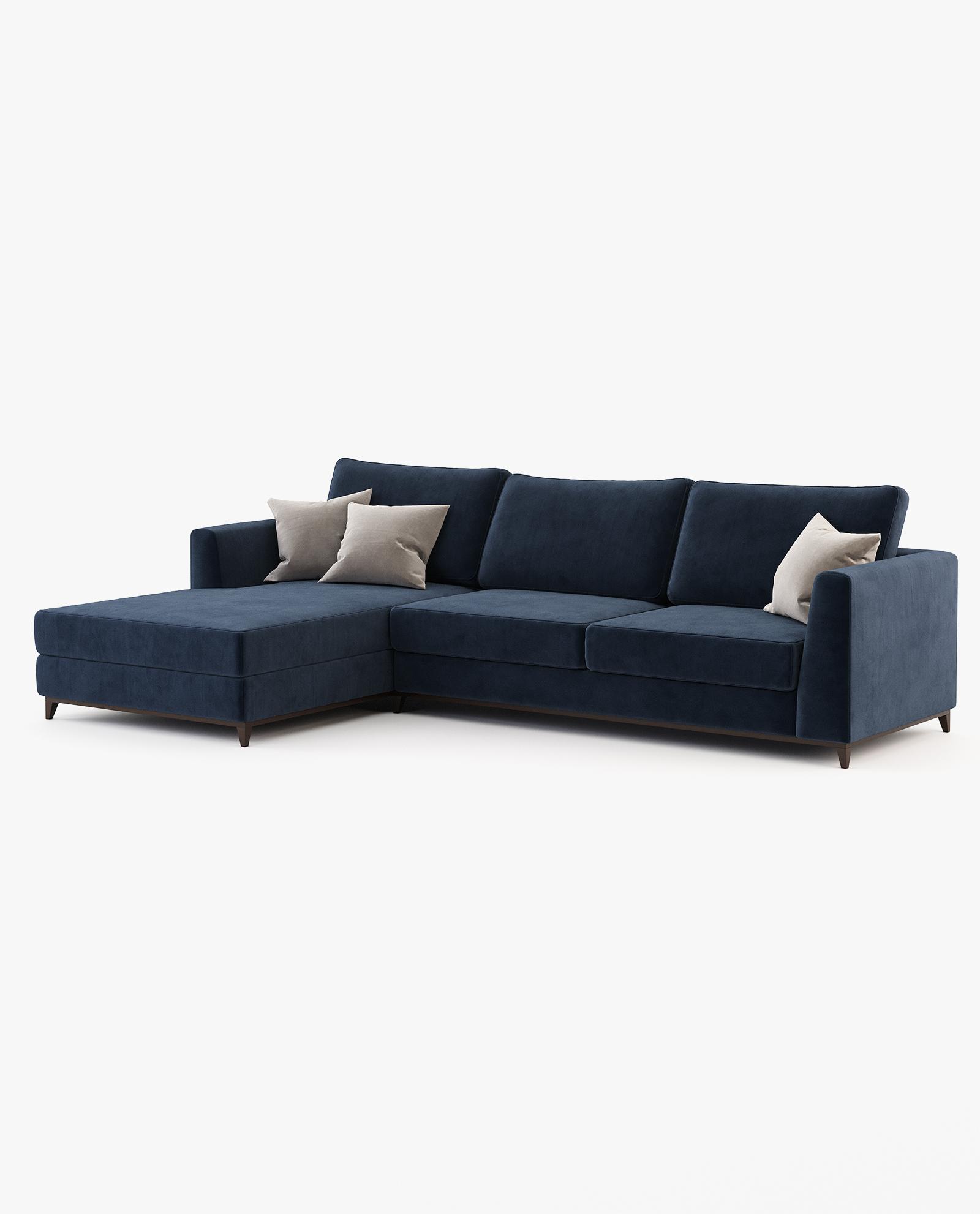 sofá chaise-longue em azul marinho