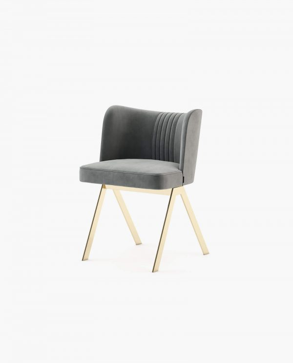 cadeira em veludo cinza
