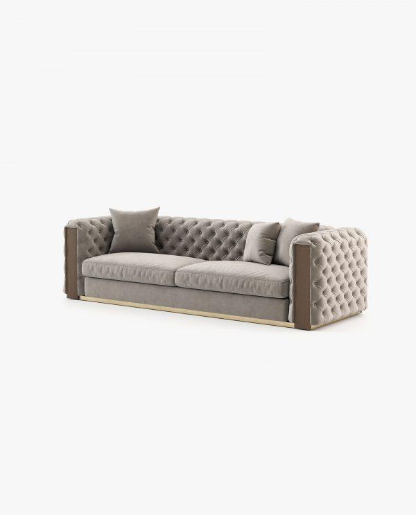 sofá 3 lugares em veludo bege escuro