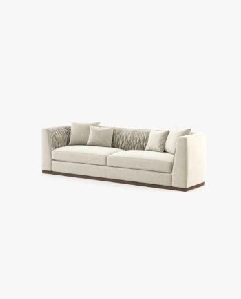 sofá em veludo cor creme