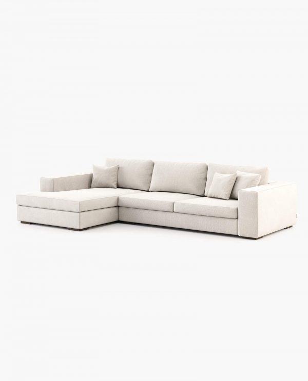 Sofá chaise-longue Fen em Tecido Alinhado Branco Laskasas