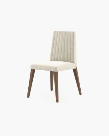 Cadeira Denver em veludo creme e nogueira Laskasas